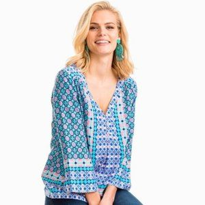 NWT Southern Tide Tropical Palm 3/4 Sleeve Top